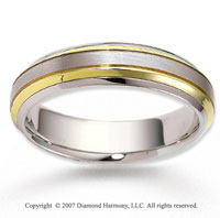 14k Two Tone Gold Forever Elegance Carved Wedding Band